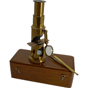 Small Antique French Brass Microscope With Condenser c.1890