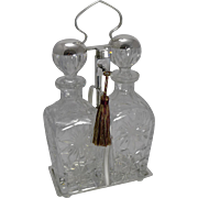 Fabulous Vintage English Locking Cut Crystal Decanters c.1920