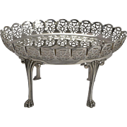 Beautiful Antique English Dish on Stand In Silver Plate c.1900