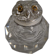 Novelty Victorian Silver Sampson Mordan Inkwell - 1895 - Owl