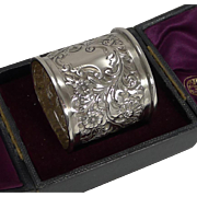 Huge Finest Quality English Victorian Napkin Ring In Sterling Silver - 1895
