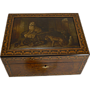 Rare Antique Parquetry / Tunbridge Inlaid Jewelry Box - Hand Painted Dog Panel
