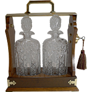 Antique English Tantalus - Exceptional Cut Crystal Oval Decanters c.1890