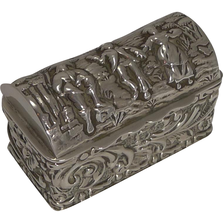 antique sterling silver ring box for three rings