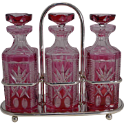 Stunning Bohemian Cranberry Overlaid Cut Crystal Decanters / Tantalus c.1910