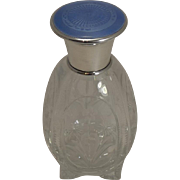 Pretty Floral Engraved Perfume Bottle; English Sterling Silver and Guilloche Enamel Lid