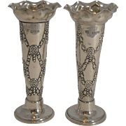Pair Antique English Sterling Silver Posy Vases