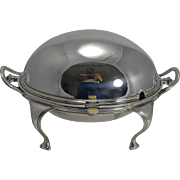 Elegant Antqiue English Silver Plated Revolving Breakfast Dish by Mappin and Webb