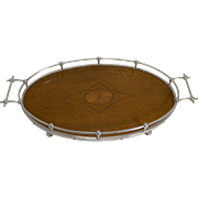 Stunning Antique English Inlaid Oak and Silver Plate Tray by Charles James Allen