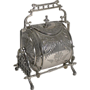 Unusual Silver Plated English Biscuit Box - Registered 8th May 1882