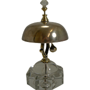 Rare Antique English Crystal and Brass Desk Bell c.1880