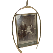 Lucky Antique English Brass Wishbone Photograph Frame