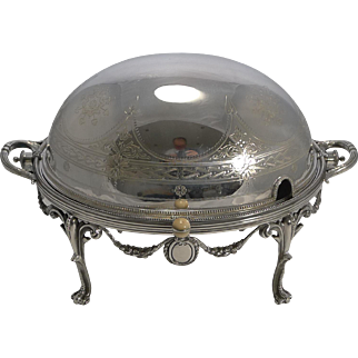 Magnificent English Silver Plated Revolving Breakfast Dish by Walker and Hall - 1898