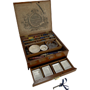Handsome Antique English Rudolph Ackermann Mahogany and Brass Artist's Box c.1890