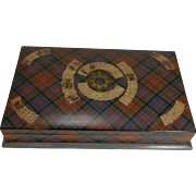 Antique English Mauchline Tartan Ware Games / Playing Card Box c.1880 - Caledonia