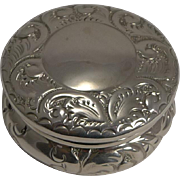 Victorian English Sterling Silver Pill Box - 1896