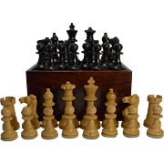 Large Antique English Weighted Boxwood Chess Set With Storage Box c.1910