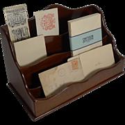 Handsome Antique Walnut Stationery Holder / Letter Rack c.1890