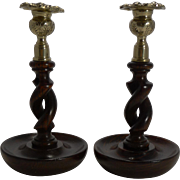 "Pair 8"" Antique English Oak Open Barley Twist Candlesticks - Brass Thistle Tops"