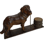 Antique Figural Black Forest Inkwell - Dog - St. Bernard c.1890