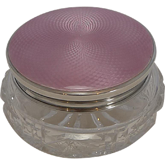 Pretty Pink Guilloche Enamel and English Sterling Silver Box - 1934