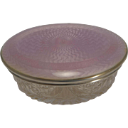 Superb David Anderson Sterling Silver and Guilloche Enamel Lidded Cut Crystal Box c.1910