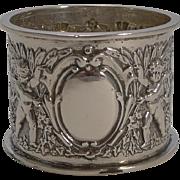 Charming Victorian English Sterling Silver Napkin Ring - Cherubs