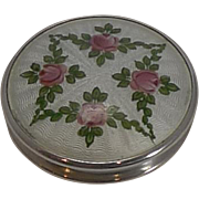 Pretty Little Antique English Sterling Silver and Guilloche Enamel Pill Box
