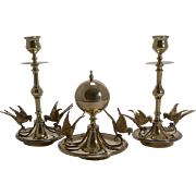 Stunning Antique English Brass Figural Candlesticks and Inkwell - Swallows