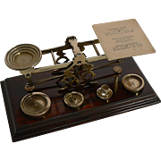 Antique English Mahogany & Brass Letter Scales - S. Mordan & Co., London c.1900