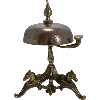Antique English Brass Desk Bell - Equestrian - Horses c.1890