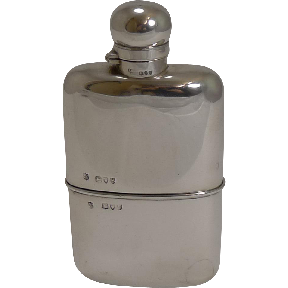 Handsome Victorian English Sterling Silver Hip Flask / Liquor Flask - 1893