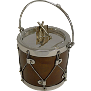 Antique Novelty Oak & Silver Plated Preserve Jar - Musical Drum c.1890