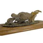 Large Cold Painted Bronze Desk Letter Clip - Game Birds - Quail With Chicks c.1890