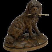 Large Carved Black Forest Figural Inkwell - Dog c.1890