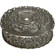 Antique English Sterling Silver Pill Box - 1902