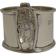 English Sterling Silver Napkin Ring - Cat And The Fiddle