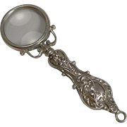 Small Antique English Sterling Silver Magnifying Glass - 1906