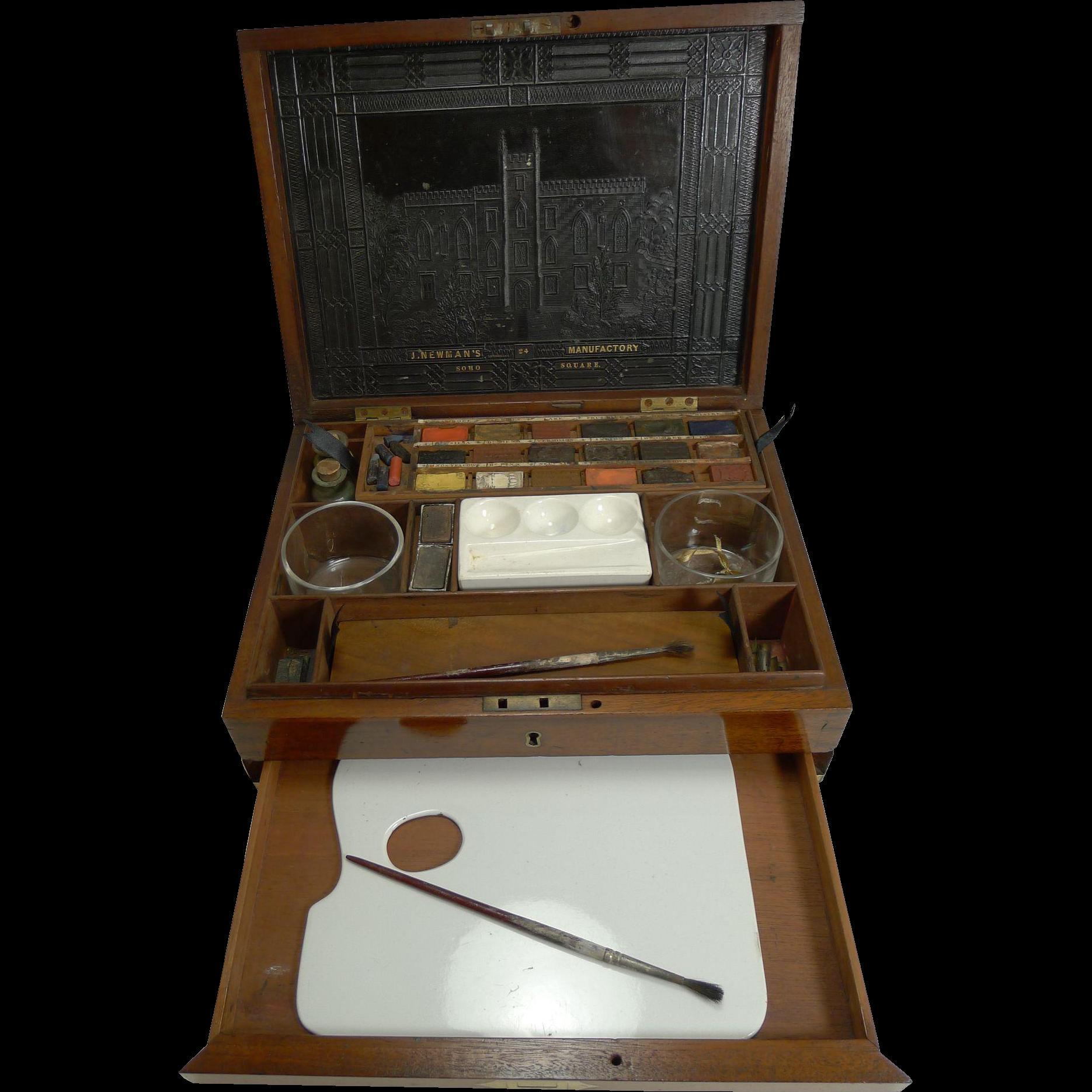 Military / Campaign Brass Bound Artist's / Watercolor Box - J. Newman's - c.1820