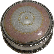 Pretty Antique English Sterling Silver & Guilloche Enamel Pill Box