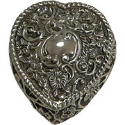 Small Victorian English Sterling Silver Heart Shaped Box - 1900