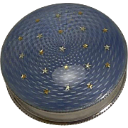 English Sterling Silver & Guilloche Enamel Box - Gold Stars