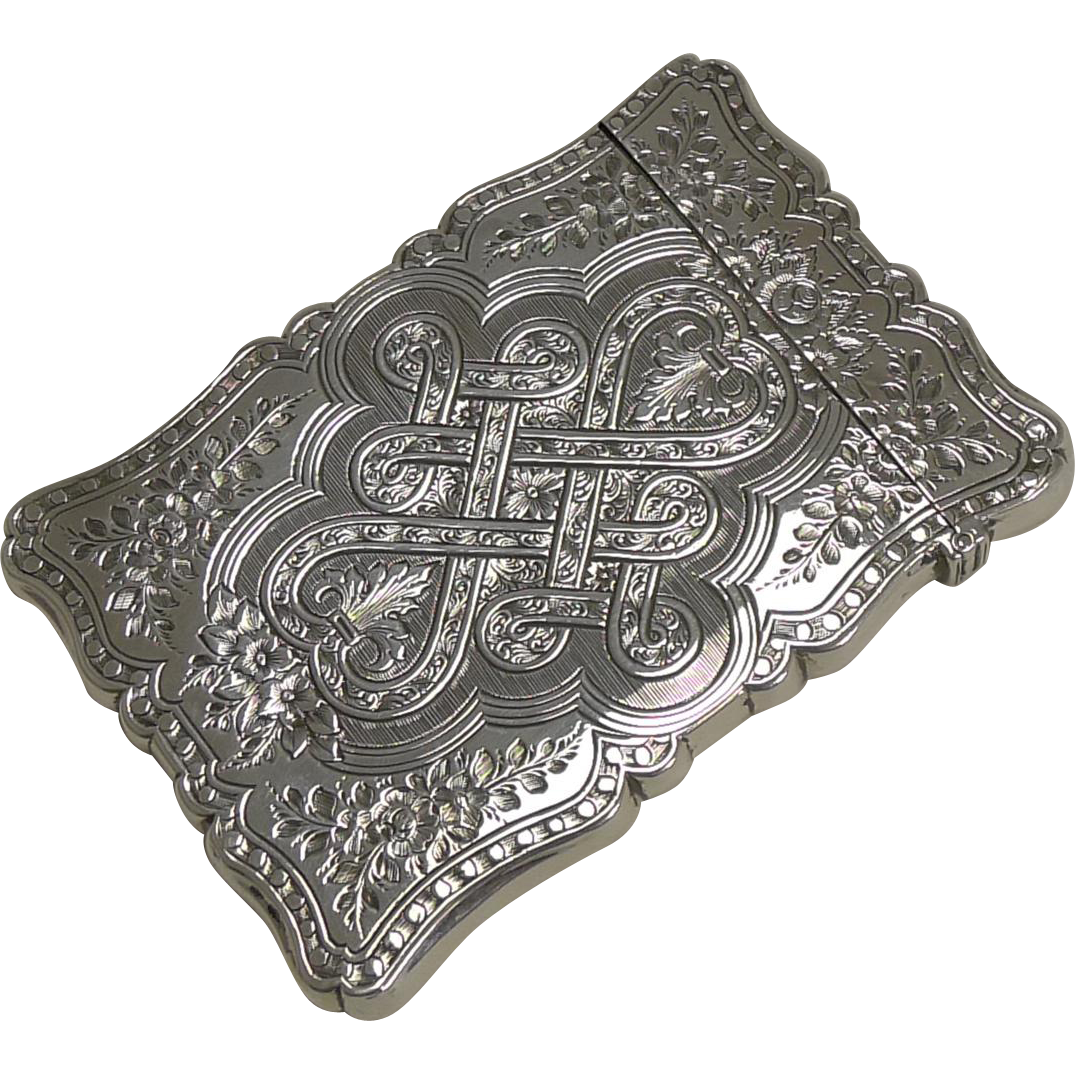 Stunning Antique English Sterling Silver Visiting Card Case - 1858