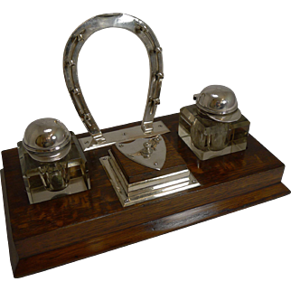 Fine Antique English Oak and Silverplate Equestrian Inkwell c.1890