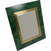 Vintage Malachite and 800 Silver Gilt Photograph Frame