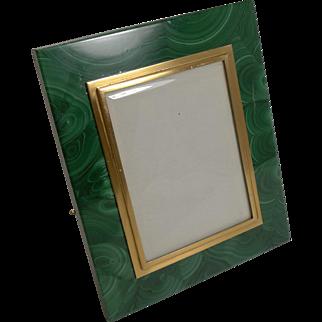 Vintage Malachite and 800 Silver Gilt Photograph Frame