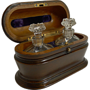 Stunning Antique French Perfume Bottle Box With Crystal Scent Bottles c.1880