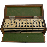 Boxed Set Antique English Bone and Ebony Dominoes c.1900