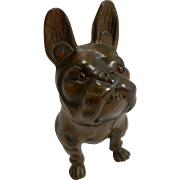 Antique Carved Black Forest French Bulldog Figural Inkwell - Glass Eyes c.1900