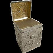Fabulous English Sterling Silver Miniature Playing Card Box - 1901
